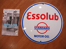 PLAQUE EMAILLEE BOMBEE ESSO ESSOLUB STANDARD MOTOR HUILE  enamel tin sign email