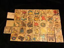 Antique Asian Wooden  Alphabet ~ Character Blocks ~ 38 Pieces