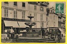 cpa MANTES en 1908 Place de l'HÔTEL de VILLE FONTAINE Animés Pharmacie LEVASSOR