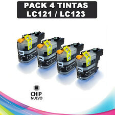 PACK 4 TINTAS LC-121 LC-123 COMPATIBLE NONOEM BROTHER CARTUCHO NEGRO LC121 LC123