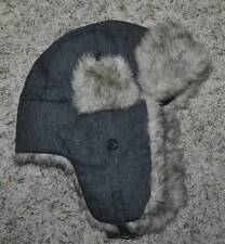NWT-Young Mens Urban Pipeline Gray Solid Knit Winter Trapper Cap Hat-OS