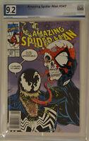 AMAZING SPIDER-MAN #347 (1991) PGX 9.2 (NM-) Like CGC (Newsstand Mark Jewelers)