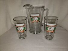 """Budweiser Pitcher Glass """"Game Room"""" with 2 Matching Glasses"""
