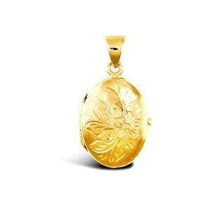 Yellow Gold Oval Locket Engraved Flower Design Solid 9ct hallmarked Two Picture