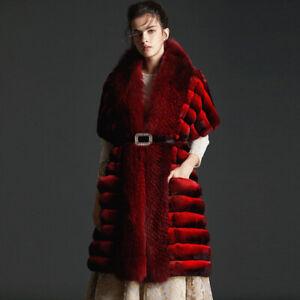 Chinchilla Fur Stole With Fox Fur collar