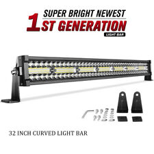 "Curved 32"" inch LED Light Bar Tri Row 648W Combo Bumper for Jeep Pickup 4X4 ATV"