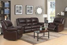 Brown High Grade Leather 3 Seater 2 Armchairs Reclining Recliner Suite TOLEDO