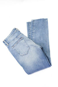 Trave Women Cotton Mid Rise Distressed Straight Leg Jeans Blue Size 27
