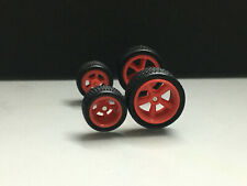 R004 Hot Wheels 1/64 SET> 5 Spoke Red 13/17mm, Long Axle Rubber Tire Real Riders