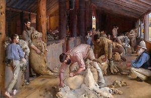 Tom Roberts, Shearing the Rams 1890, 8x12inch (plus border), Canvas print