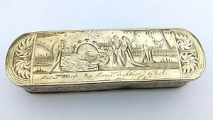 Antique 18th c Dutch Engraved Brass Tobacco Box Biblical Scenes Baby Moses 1700s