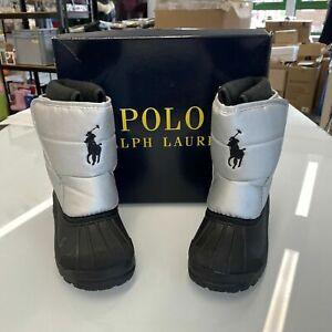 Ralph Lauren Boys Waterproof winter snow boots EUR 26 UK 9 black silver NEW