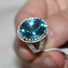 Blue Topaz Dome Ring Studded Cubic Zirconia 925 Sterling Silver Handmade Jewelry