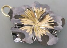 LARGE SOLID 14K GOLD Flower thinly coated w/BLACK RHODIUM, 5.4gms, 1.6 INCHES