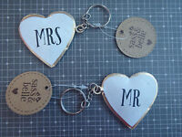 Mr and Mrs set of keyrings sass and belle rustic vintage style quirky gift love