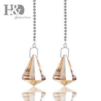 Champagne Crystal Cone Shape Pendant Chandelier Prisms Hanging Window Home Decor