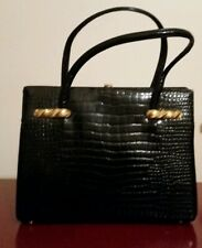New listing Vintage 1950's Snake Skin Black Handbag Purse Leather with chained Coin purse