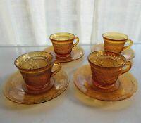 Tiara Indiana Glass 4 Amber Sandwich 6 ounce Cup & Saucer Sets