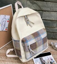 Womens Unisex Beige Check Brown Grey Tartan Cotton Canvas Bag Backpack Couples