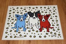George Rodrigue Blue Dog Oh Say Can You See White Silkscreen Print Signed Art