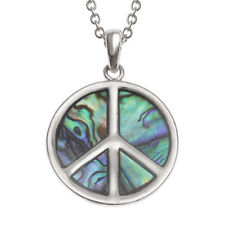 "Peace Sign Charm Pendant Fashionable Necklace - Abalone Paua Shell - 18"" Chain"