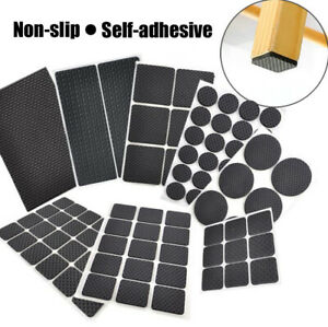 Non Slip Rubber Pads Floor Protector Furniture Feet Self Adhesive Sticky Back UK