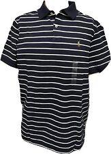 NEW Polo Ralph Lauren Mens CLASSIC Fit Mesh Pony Shirt navy blue white stripe