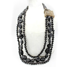 Necklace Bull's Eye Seed Black Handmade Jewelry Organic Designer Large Ethnic.