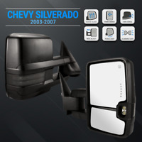 For 03-07 Silverado Black Tow Mirrors Extendable Power Heated LED Signals Puddle