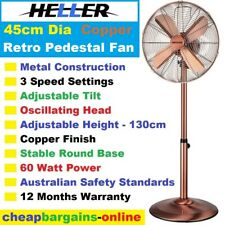 45cm PEDESTAL FAN RETRO COPPER FAN HELLER ADJUSTABLE HEIGHT 3 Speed Oscillating
