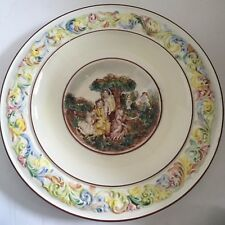 Large Vtg Capodimonte Italian Relief Charger Wall Plate w Peasants & Cherubs 16""
