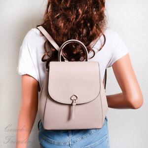 NWT Kate Spade Adel Medium Flap Backpack in Warmbeige Leather WKRU6412