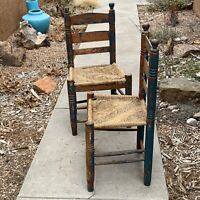 TWO Antique Ladder Back Chairs Primitive Wood Rustic Worn Farmhouse Pick Up Only