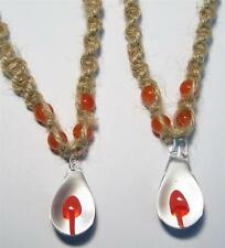 ORANGE GLASS MUSHROOM HEMP NECKLACE W COLORED BEADS mens womens shrooms #JL455