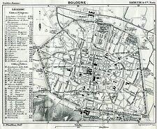 Pianta di Bologna.Carta Topografica,Geografica.Stampa Antica + Passepartout.1886