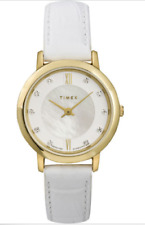 NWOT Ladies Timex T2P422 White Leather Strap MOP Dial Watch