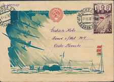 1938 USSR SOviet Union Cover North Pole Expedition Cachet to Czechoslovakia