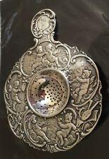 ANTIQUE Vintage Sterling  SILVER ORNATE TEA STRAINER PUTTI