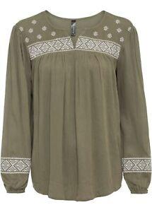 Bluse mit Stickerei Gr. 42 Grün Weiß Damen-Bluse Shirt Tunika 1xget NEUw