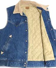 vtg Lee BLUE JEAN VEST MED 70s Insulated Lining Corduroy Collar denim usa M