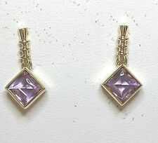 Genuine 9ct gold  Amethyst Drop Earrings (real gold not filled or plated)