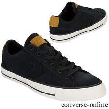 Hombres CONVERSE Star STAR reproductor CONS OX All Negro Gamuza Tenis Zapato UK Size 11.5