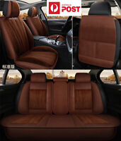 Brown Plush Car Seat Covers Front & Rear Full Set For 5-Seats Car SUV AU SHIP