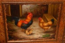 BOROFSKY ROOSTER AND HEN FAMILY ORIGINAL OIL ON CANVAS PAINTING