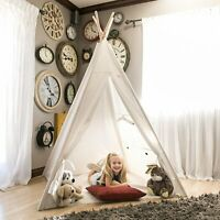 130cm Portable Teepee White Play Tent Kid Playhouse Sleeping Children Gift Toy