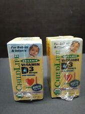2 PK-ChildLife, Organic Vitamin D3 Drops, Natural Berry Flavor, 400 IU, 0.338 oz