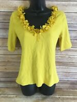 Soft Surroundings 3/4 Sleeve Shirt Size Medium Womens Yellow Blouse Top