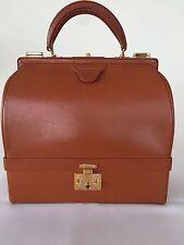 AUTH HERMES VINTAGE TERRACOTTA BOX CALFSKIN LEATHER SAC MALLETT 1950s HAND BAG