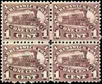 New Brunswick #6 mint VF NG 1860 Cents Issue 1c red lilac Locomotive Block of 4