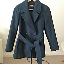 Forever New navy blue wool blend basic tie stylish long workwear jacket coat 8 S